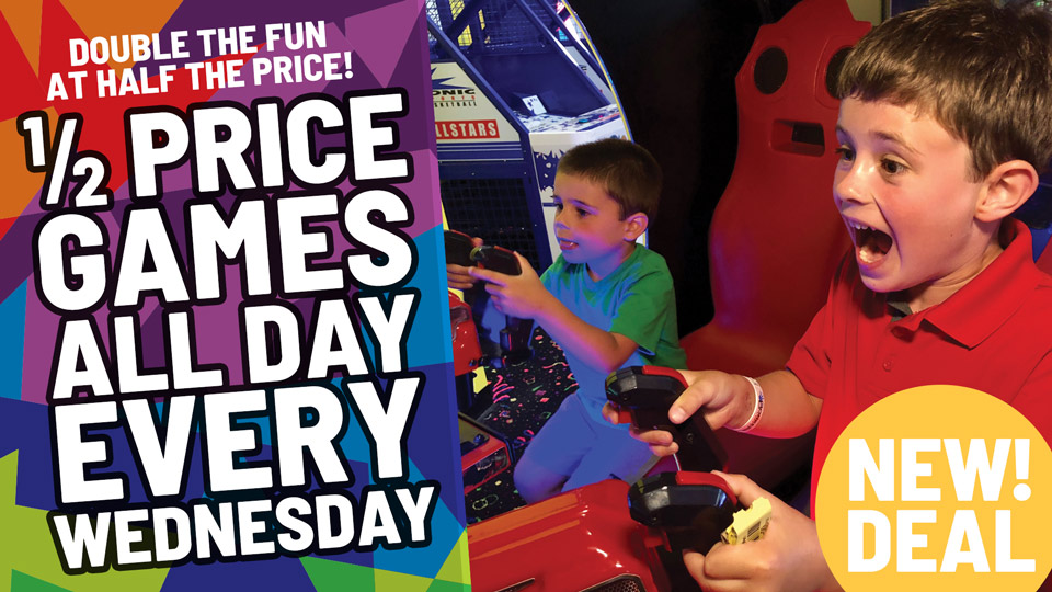 1/2 Price Games All Day Every Wednesday at Bonkers