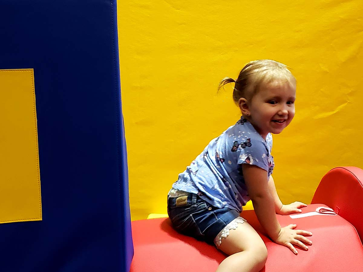 Climb on all the obstacles at Toddler Town