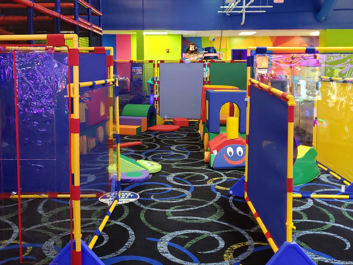 Bright and colorful toddler play area at Bonkers