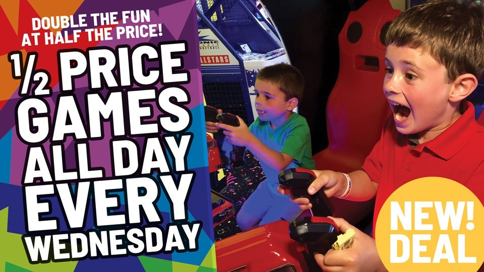 1/2 Price Games All Day Every Wednesday